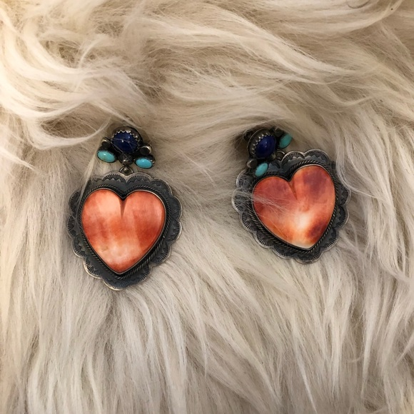 Jewelry - Silver heart earrings with stones